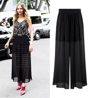 loose pants for women - Women wide leg pants Summer Ladies black elastic waist Capris L XL plus size casual loose high waisted trousers for female