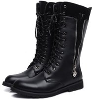 cowboy boots - Men s High Top Shoes Knee High Boots Punk Side Zipper Metal V Totem PU Leather Lace Up Casual Martin Cowboy Boots US Size