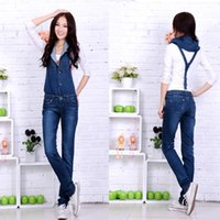 bib hood - Autumn denim bib pants female skinny pants pencil pants with a hood suspenders jeans