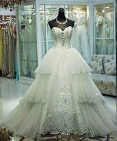 Wholesale Amazing New Princess Ball Gown Wedding Dresses Sweetheart Corset Luxury Crystal Tulle Floor Length Bridal Gowns Custom Make