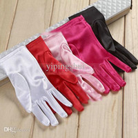 Wholesale New Ladies Women Satin Evening Party Dressing Prom Short Finger Gloves Cocktail Bridal Wedding Formal Gloves