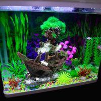 Wholesale Aquarium Fish Tank Decor Resin Wreck Sailing Boat Sunk Ship Fishing Nets Destroyer Resin Ornament Landscaping