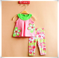big leg pants - Big Floral set flower vest floral legging pants set RARE EDITIONS Pink flower girls pink vest suit