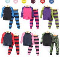 pajamas for children - 2015 Spring New Children Pajamas Stripe Cotton Long Sleeve Underwear For Kids T