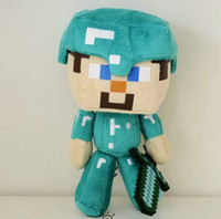 Wholesale Minecraft Steve Plush doll Game My World Diamond Edition With Sword Plush Stuffed PP cotton Dolls for children gifts Inch high quality