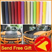 Wholesale 127X30Cm D Car Carbon Sticker Carbon Fibre Vinyl Film Car Wrap Sheet Roll Film Tools Sticker Decal Car Styling With Free Tool