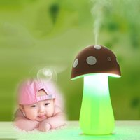 Wholesale Mushroom USB Aroma Humidifier Night Lamp Air Diffuser Purifier Atomizer brown Brand New