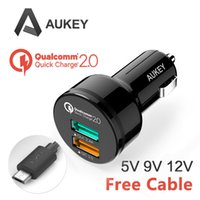 Wholesale 2015 NEW Interior Accessories Car Chargers Aukey CC T1 Universal Qualcomm Quick Charge USB Turbo Fast car Charger Adapter For ipad
