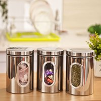 glass canister set - 1pc High Quality Stainless Steel Canister Jar Bottle Box Set with Glass Window Kitchen Storage Jar Candy Container order lt no