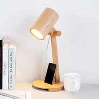 Wholesale IKEA Loft Edison Bulbs Wooden shade Handmade Wood LED Night Table Lamp Wooden Desk Lighting Modern Desk Light Decor V