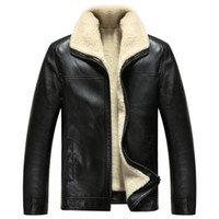 Wholesale Fall New Brand Casual Men s Fur One Leather Clothing Turn Down Collar Genuine Leather Jacket Fur Coat M XL
