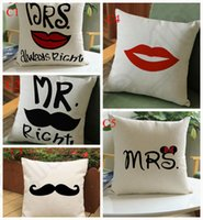 big couch - 10 Design Solid Polyester Linen Cushion Cover Big Beard and red lips Printing Throw Pillow Cover Case Couch cm LJJJ39