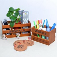 Wholesale Zakka vintage wool wooden pen brief supplies originals desktop storage
