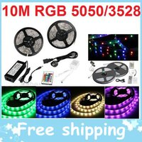 Wholesale 10M X M Magic Dream Color RGB LED Strip Light Leds Colors changing Waterproof Remote Controller powe supply