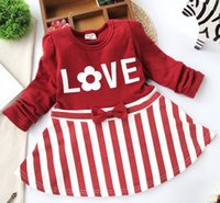 love dolls - Long Sleeve Stripe Splicing Love Bowknot Children Girls Dresses Spring KoreanT shirt Skirts Baby Infant Doll Dress White Red Blue L1355