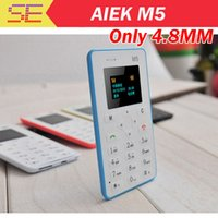 Wholesale Russian language AIEK M5 Card Cell Phone mm Ultra Thin Pocket Mini Phone Quad Band Low Radiation AEKU M5 Card cheap Phone