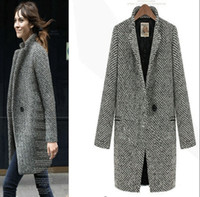 Wholesale 2015 fall and winter of foreign trade original European station Houndstooth woolen coat windbreaker jacket big yards long section