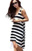 2015 donne Summer Dress O-Collo swimwear casuale Beach Dress Plus Size vestito a strisce 3 colori disponibili