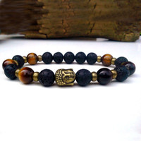 antique bronze buddha - SN0138 Yoga Meditation bracelet Antique Bronze Buddha Tiger s Eye Lava bracelet Solar Plexus Bronze Buddha bracelet men