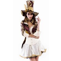 Cheap New Arrival Free Shipping Cowboy Sexy Pirate Costumes Women Halloween Costume Jacket+Dress+Hat