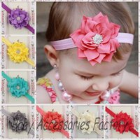Wholesale Baby Headbands Infant Flower hairbands Hair Accessories For Photography Props Kids Fabric Chiffon Flower Headbands with Acryl diamond Center