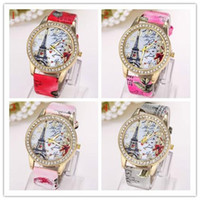 Cheap Fashion Lady Dress Watches Luxury Diamond Eiffel Tower Pendant flower printed Leather Wristwatches Crystal Eiffel Tower Women Quartz Clock