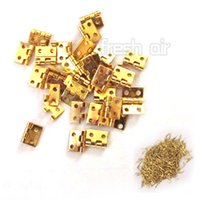 dollhouse furniture - 50PCS Mini Small Metal Hinges with Screws For Dollhouse Miniature Furniture