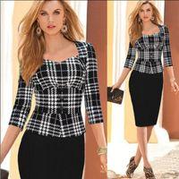 Wholesale 2015 Women Autumn Elegant Vintage Long Sleeve Cotton Stretch Peplum Office Wear To Work Party Pencil Sheath Dresses China wear black blazer