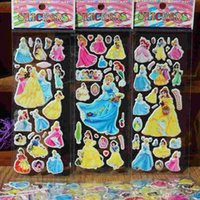 baby crafts kids - 2016 New Snow White princess Anime Cartoon Stickers D PVC Adhesive Bubble Stickers Kids Classic Toys Craft For baby Children