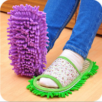 Wholesale Chenille shoes cover lounged grazing slippers set mop wigs clean shoes cover single