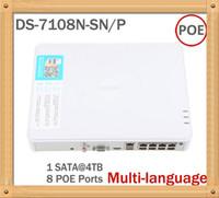 al por mayor hd dvr cámara de 8 canales-Hikvision DS-7108N-SN / P con ocho puertos Ethernet monitor DVR NVR