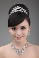 Wholesale 2014 New Fall Fashion Bridal Hair Accessories Silver Bead Crystals Bridal Hair Crown Earring And Necklace Set Sparkle Wedding Decoration