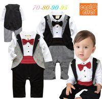 cotton baby romper - 2015 New Babies Clothes Boy Gentleman Romper Bow Tie Plaid Long Sleeve One Piece Jumpsuits M