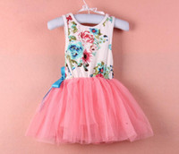fashion lace ribbon - 2015 Best Seller Girls Printed Flower Dresses With Lace Layers And Ribbon Girls Fashion Dresses Children Clothing Girls Lace Dresses