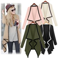 Wholesale New Asymmetric Women s Spring Cardigan Trench Coat Blouse for Women Contrast Poncho Long Sleeve Cape Tops Manteau Femme Stitch Outerwear