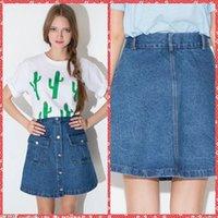 Simple Corto Jean Corto Faldas Estudiantiles Chicas Ropa con la venta de bolsillo Europeo Moda Verano barato encantador