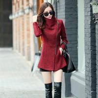 Wholesale New Hot Women Autumn Winter Plus Size Long Wool Coats Turn Down Collar Zipper Design Womens Coats And Jackets Winter Outwear