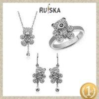 Wholesale Animal Style Lovely Bear Pendant Necklace Earring Ring Set Zircon Stone Fashion Jewelry Set jewelry making necklace