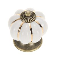 Wholesale Good Quality Vintage Pumpkin Ceramic Door Knobs Cabinet Drawer Cupboard Kitchen Pull White