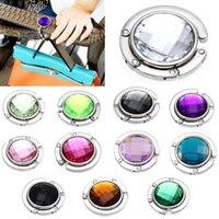 Wholesale 18 Colors Fashion Crystal Alloy Folding Purse Handbag Bag Hook Hanger Holder Gift