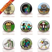 button badge - New Hot Games MC Mine craft Brooch Badges Cartoon Pins Button Pin Badge CM party favor gift Best for Collection bags accessories
