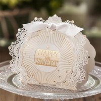 Wholesale romantic white lace floral chocolate box for wedding party favor gift box boutidue