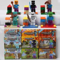 plastic building blocks toys - High Quality Minecraft Steve Zombie Skeleton Enderman Building Plastic Educational Toy Minecraft Block Toy Action Toy Figures Minecraft