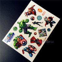 Wholesale Top Quality Marvel Avengers Superheros Union Child Flash Temporary Tattoo Sticker For Kids HCG Hulk iron Spider Man Thor Captain America