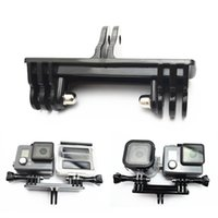 Wholesale Two Cameras Simultaneously Mount Double Bracket Mount Base Adapter Monopod Stand Holder For Gopro Hero4 Session Xiaomi yi