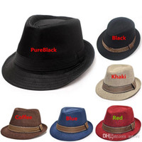 Wholesale New Arrivals Fashion Baby Kids Children Top Fedora Cotton Blending Cool Punk Jazz Hats Blue Dance Sun Cap PX26