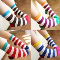 baby antibacterial - Baby Socks Children Socks Baby Socks Fashion Children Cotton and Stripes Socks Hot Kids Antibacterial and Breathable Infant Socks