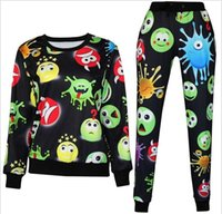 Cheap 3D tracksuits print cartoon emoji jogging suits sweat shirts+pants 2 piece set for men women sportwear new free shipping