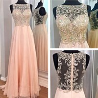 Wholesale Charming Real Image Beaded Sheer Chiffon Prom Dress A Line Crew Custom made Floor length Evening Party Backless Formal Dresses