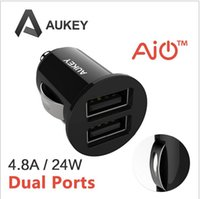Wholesale Aukey Car Charger A Dual Port Car Charger Mini Car Charger A A A max dual outputs for iPhone iPad A